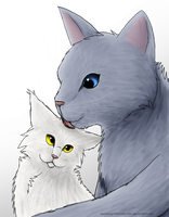 Bluefur and Whitekit by MoonheartThunderClan
