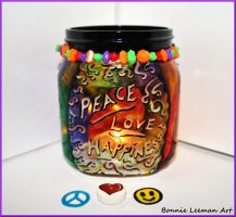 Peace Love and Happiness Jar by Bonniemarie