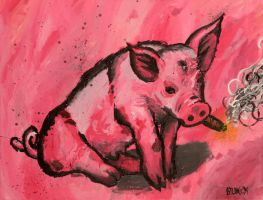 cute pig smokign a blunt by biotwist