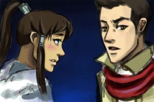 Korra and Mako WIP by LittlePonyPrincess