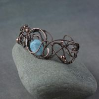 Copper bracelet with aquamarine by WhiteSquaw
