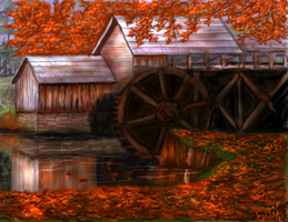 Watermill of Fall by E by Ellee22
