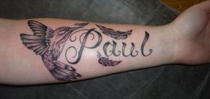 Hummingbird and Lettering tattoo by D3adFrog