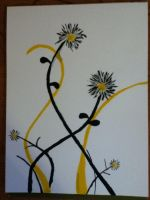Yellow and Black painting by KarenNicole97