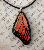 Glass Monarch Wing Pendant by FusedElegance