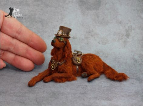 Miniature Steampunk Irish Setter sculpture by Pajutee