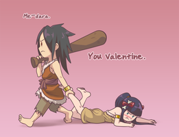 Caveman Speak -- Happy Valentine's by Miisu
