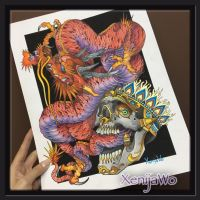 Tattoo design Dragon and Skull by Xenija88
