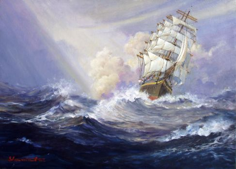 Sailing Ship in distant sea 2 by temma22