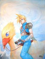 Cloud on chocobo by meomeoow
