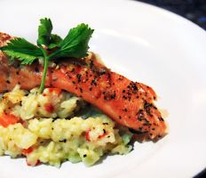 Chicken risotto w grild salmon by slippingspecs