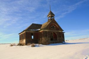 Old School House winter by rustyshacklefjord
