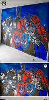 The Robotic Showdown - Transformers Mural by ricepuppet