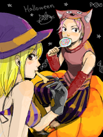 Halloween-Natsy and Lucy by pif4eto96