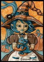 Cute Witch and Kitten ACEO by candcfantasyart