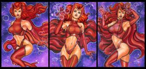 SCARLET WITCH PERSONAL SKETCH CARDS by AHochrein2010