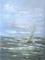 Sailboat on the waves by flitart
