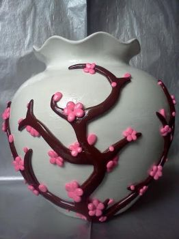 Cherry Blossom Vase Side 1 by TheOwlsRoost