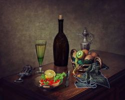 Still life with a glass of wine by Daykiney