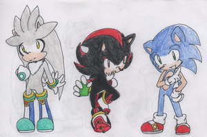 sonic,silver and shadow by RockStarMaren123
