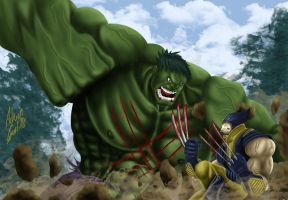 Hulk vs Wolverine by SWAVE18