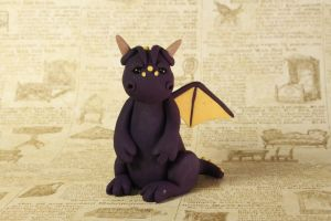 Miniature Purple Clay Dragon Sculpture by lizayle