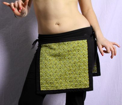 Panel Skirt - Green Zigzag by EmilyNorthey