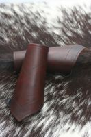 Brown Leather Bracers with Grooves by Versalla