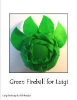 Green Fire Ball For Luigi by SoandSewPlushies