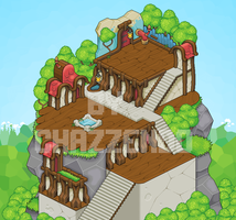 Isometric Pixel Art - Mountain Houses by Chazzendo