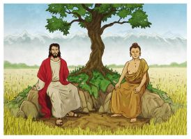 Jesus and Buddha by xilrion