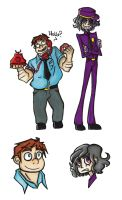Phone Guy and Purple Guy doodles by marvyanaka