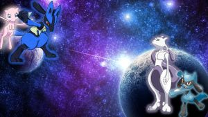 Mewtwo vs Lucario by Yakome