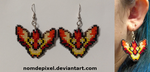 Moltres Cross Stitch Earrings Commission by NomDePixel