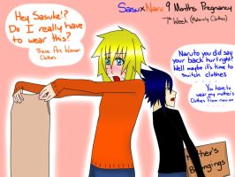 SasuNaru 9Months Pregnacy Week 7 Maternity Clothes by YamiRiusu
