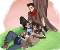 Makorra: Family Sleep Pile by NyaNanaX