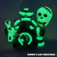Polymer Clay Robot-I Love Zombies Glow In The Dark by KIMMIESCLAYKREATIONS