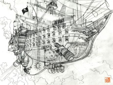 Pirate ship rough by Sheharzad-Arshad