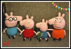 Peppa Pig family by gengibrecroche