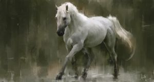 White horse in the rain by LeeKent