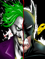 Joker Batman - 2 face colored by BIG-D-ARTiZ