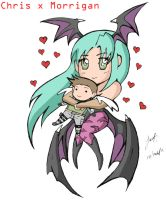 Chris x Morrigan by redfield37