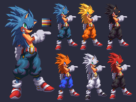 Sonic Hi RES kof XIII style by Methiou