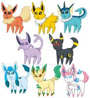 Eeveelution Set by TorpidTiger