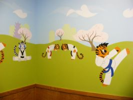 Tae Kwon Do playroom mural by Snowboardleopard