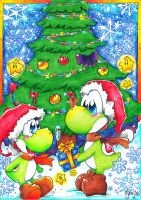 Merry Christmas Little Yoshi [Comm. Paperlillie] by GreenYoshi25