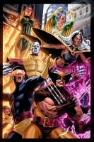 classic X-Men battle piece by vic55b