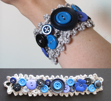 Blue Crocheted Bracelet by convallaria
