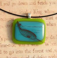 Vintage Narwhal Glass Pendant by FusedElegance