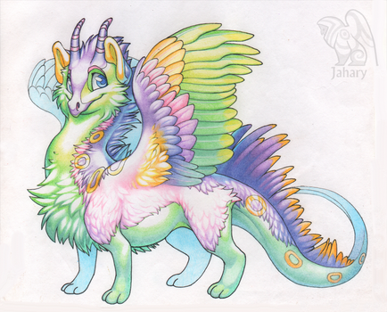 Cute fluffy dragon by Jahary